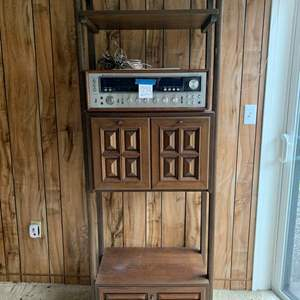 Lot #229 - Vintage Cabinet/Display Bookshelf with Brass Hardware (Contents Not Included)