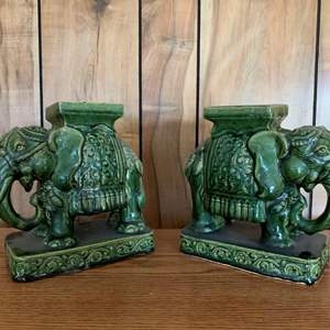 Lot #238 - Green Elephant Ceramic Pieces, Bookends or Stand?