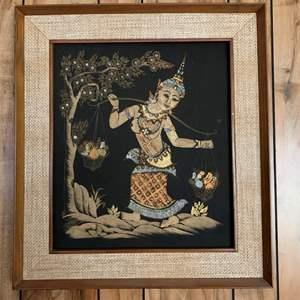 Lot #240 - Nicely Framed Thai Woman Art Work