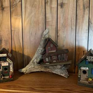 Lot #250 - Cute Bird Houses and Drift Wood