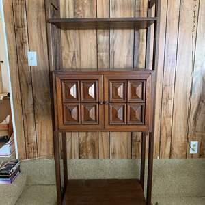 "Lot #252 - Vintage Cabinet/Bookshelf with Brass Hardware 28"" x 17"" x 72""h"