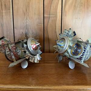 Lot #255 - Hand Crafted Air Planes Made Out of Rainer Light Beer And Olympia Beer Cans