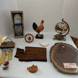 Lot #257 - Ingraham Wall Clock, Walnut Wood Round, Various Home Decor Items and Wind Chime
