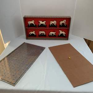 Lot #258 - Boxed Set of Carved Horses, Synthetic Material
