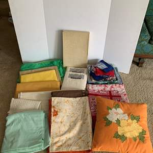 Lot #260 - Selection of Tablecloths, Placemats and a Throw Pillow