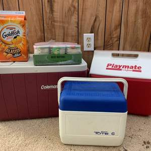 Lot #262 - Three Coolers Some With Food and Alcohol, Alcohol is a Gift From The Homeowner