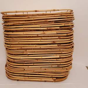 Lot #264 - Twenty-Nine Bamboo and Wicker Dinner Trays, a few have stains