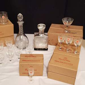 Lot #266 - 24% Lead Crystal Hand Made Hand Cut in Taiwan Glassware & Bottles with Asian Theme Etchings. More are in Lot #43