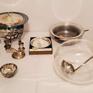 Lot #267 - Silver Plate Chafing Dish, Candle Holders, Cut Crystal Punch Bowl/12 Cups