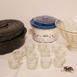 Lot #271 - Rival Crockpot, Punch Bowl, Stand and Cups/Hangers and Roaster Pan
