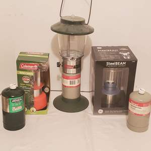 Lot #277 - Coleman Propane Lantern Model 5114C, Coleman Battery Lantern, Steel Beam Florescent Lantern, Propane