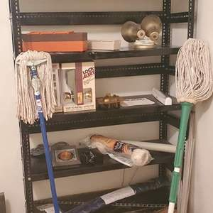 Lot #283 - Five Shelf Adjustable Storage Rack with Contents