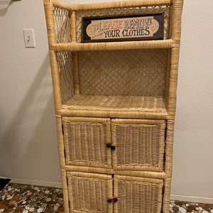 """Lot #286 - Tall Wicker Shelving Cabinet with Please Remove Your Clothes Sign 24"""" x 13"""" x 51""""h"""