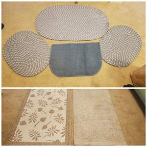 Lot #288 - Three Oval Braided Rugs, Mat and Two Neutral Color Rugs