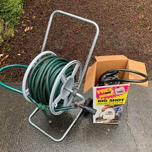 Lot #290 - Garden Hose on Hose Wheel and Big Shot Multi-Purpose Sprayer in Box