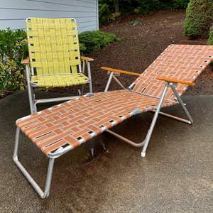 Lot #291 - Vintage Aluminum Framed Folding Chair and Lounge Chair