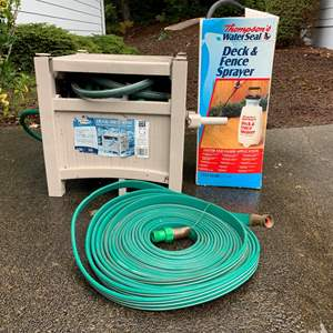Lot #292 - Suncast Hose Hide Away, Garden Hose and Thompson's Water Seal Deck & Fence Sprayer