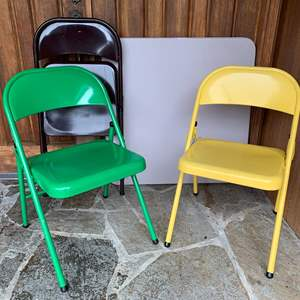 Lot #293 - Three Meco Folding Chairs and Meco Card Table