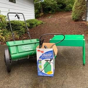 Lot #294 - Champ RB2001 3.8 liter Garden Sprayer, Scotts Accugreen Spreader, Small Green Garden Bench