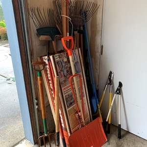 Lot #295 - Yard and Garden Tools, Rakes, Pitch Fork, Axe, Broom and More