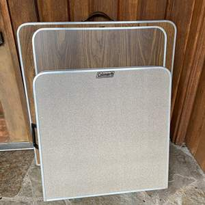 Lot #296 - Coleman Folding Camp Table and Two Larger Folding Camp Tables