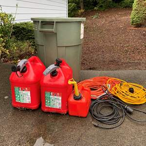 Lot #300 - Three Gan Cans, Extension Cords and Garbage Can