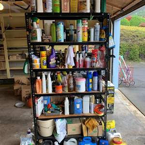 Lot #306 - Tall Metal garage Shelf Full of Home, Yard And Garden and Automotive Cleaners, Chemicals, Garden Food and Supplies