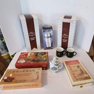 Lot #309 - Boxed Chinese Tea and Cup, Gevalia Vacuum Bottles