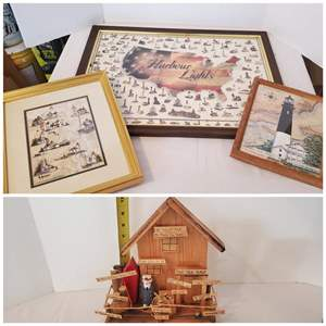 Lot #310 - Signed and Numbered Lighthouse Print, Other Prints and Wood House