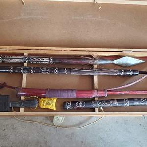 Lot #318 - Boxed Ethnic Carved Bow & Arrow and Spears