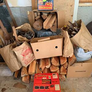 Lot #323 - Stay Warm This Winter With Giant Size Hearth Side  Fire Logs, Box of Starter Logs, Fire Wood and Kindling