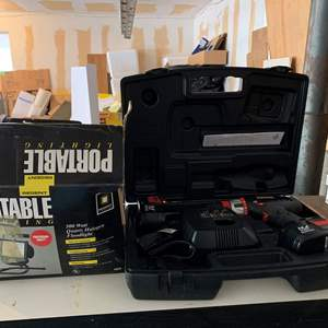 Lot #325 - Regent Portable Floodlight and Craftsman 14.4 Volt Cordless Drill in Case