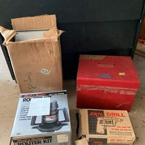 "Lot #327 - Skil Quality Drill, Black & Decker Router Kit, Fury 7"" Saw, Jig Saw"