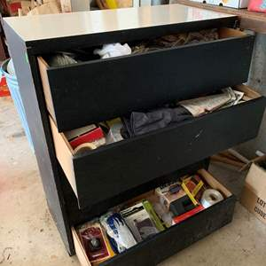 Lot #328 - Large 5 Drawer Dresser With Everything In Drawers Included Full of Home Supplies, Mini Spray Gun, Mini Shop Kit