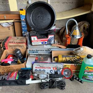 Lot #332 - Schauer Battery Charger, Insta Cling Dark Window Tint, Radial Tire Chains, Prestone Bug Wash, License Plates & Frames