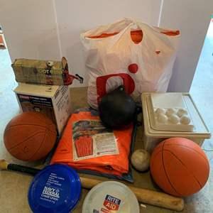 Lot #334 -  Coleman Propane Lantern and Cooler, Foot Air Pump, Aqua Sled, Life Jackets, Balls, Bat, Frisbees