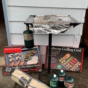 Lot #336 - Barbeque Grill, Grilling Grid, 3 Piece Tool Set, Duel Food Grill Saver and Small Bottles of Propane