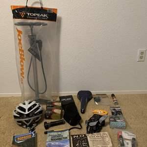 Lot #341 - Biking Equipment: Topeak Joe Blow DX Bike Pump, Giro Helmet, Selle Seat, Gloves, Books and More