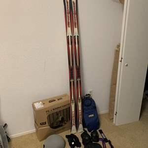 Lot #342 - Salomon Racing 5 Wheel Metal Frame Inline Rollerblades, Pads, Helmet, Rossignol Skis and More