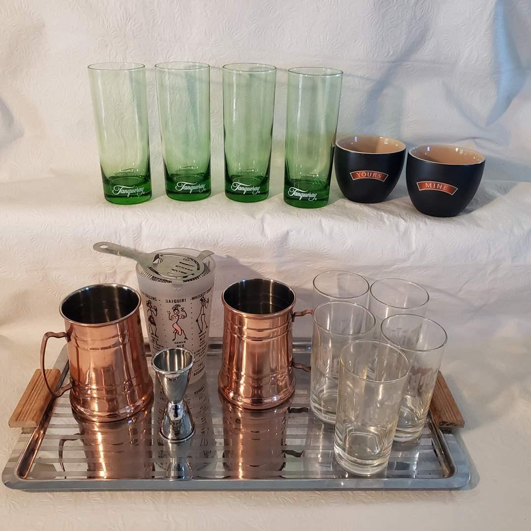 Lot#31 - Fun Barware Lot * It's 5 O'clock Somewhere! * Green Tanqueray Highballs * MCM Tray * Copper Mugs * Clock (main image)