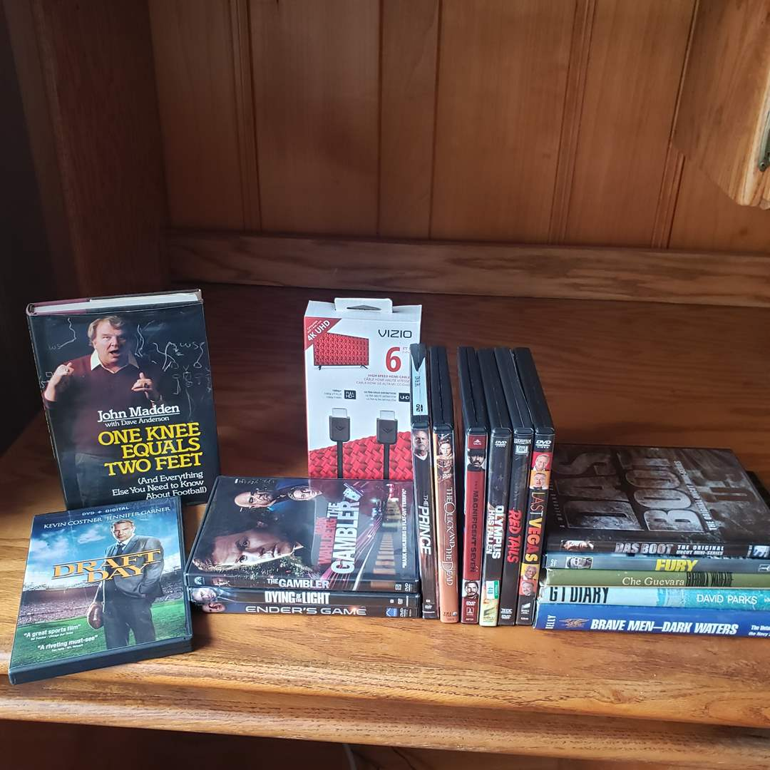 Lot#84 - 12 DVD Movies * 4 Books * New HDMI Cable (main image)