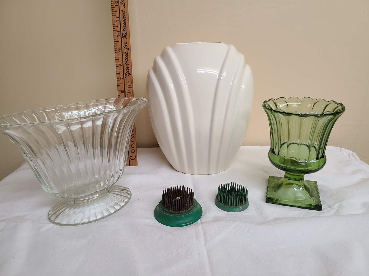 Lot#114 - Fun Lot of Vintage Vases and 2 Pin Frogs * Neat Sizes (main image)