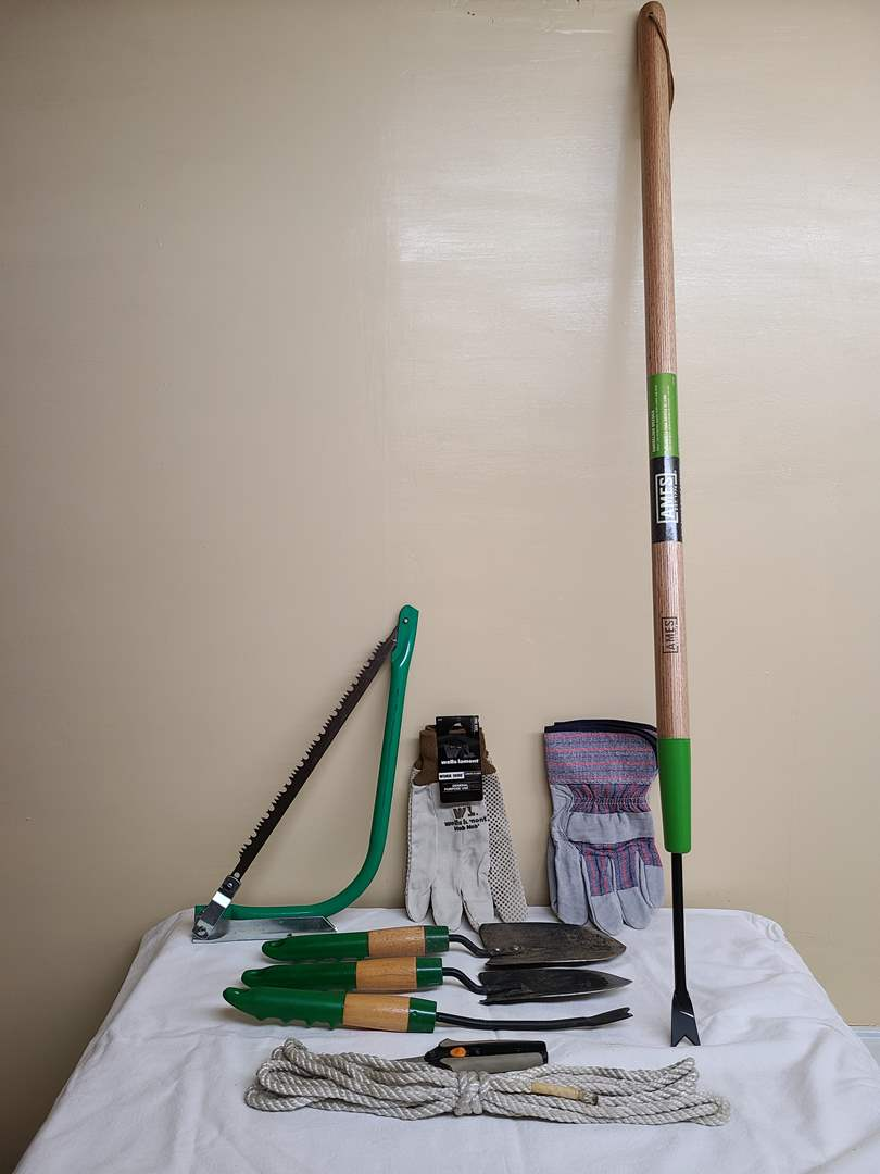 Lot#115 - Gardening Lot of * Hand Shovels * 2 New Pairs of Gloves * Hand Saw * other accessories  (main image)