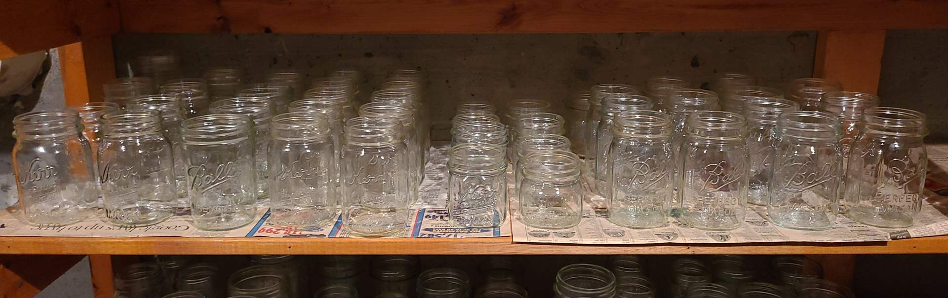 Lot#117 - Vintage Kerr and Ball Canning Jars of Varying Sizes * 40+ (main image)