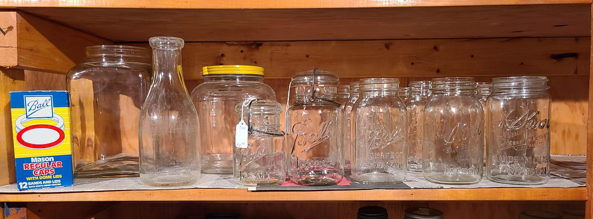 Lot#119 - Vintage Canning Jars and Supplies * Ball * Kerr * Mixed Sizes * Glass Milk Jar (main image)