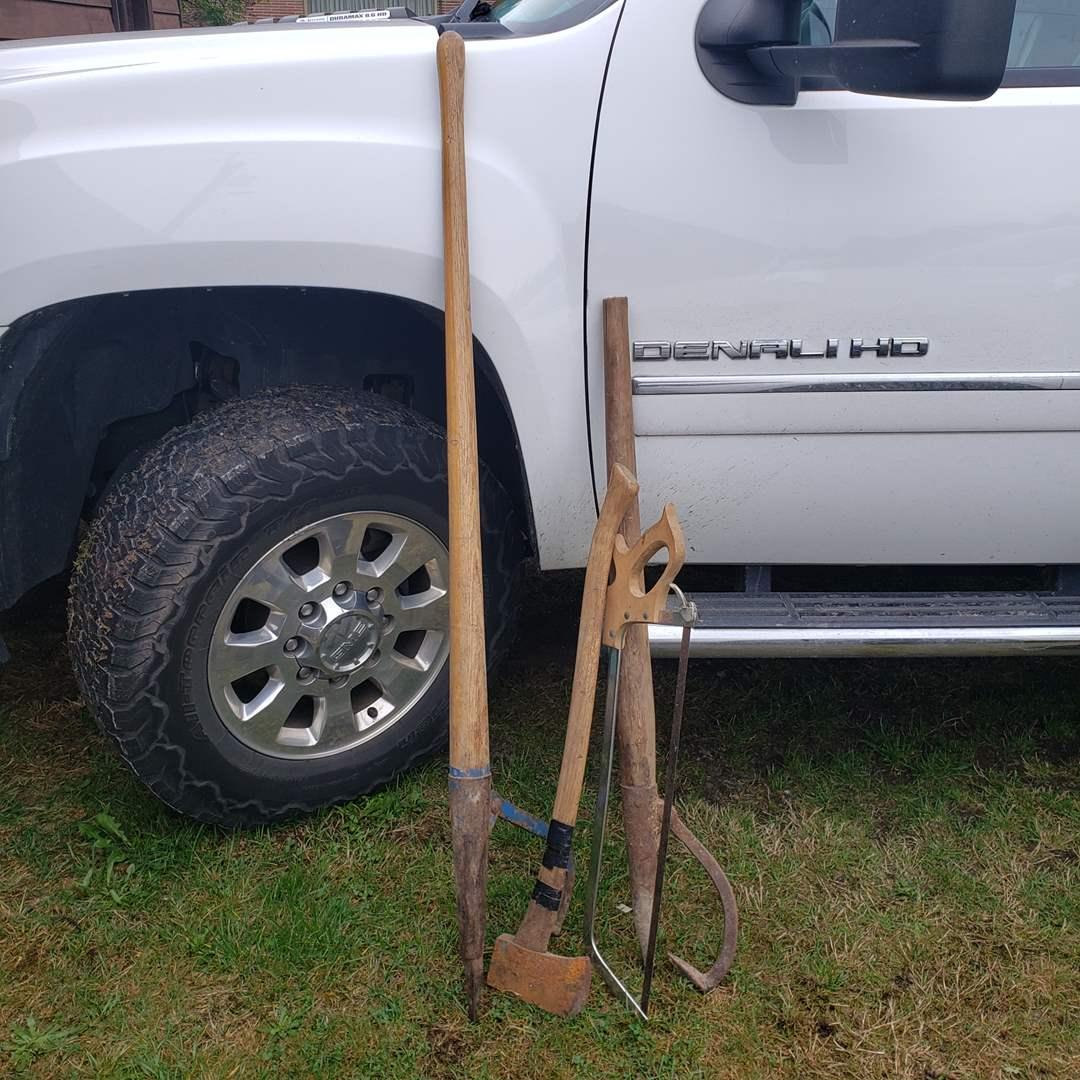 Lot#155 - 2 Wood Handle Peaveys * Axe * Hand Saw (main image)