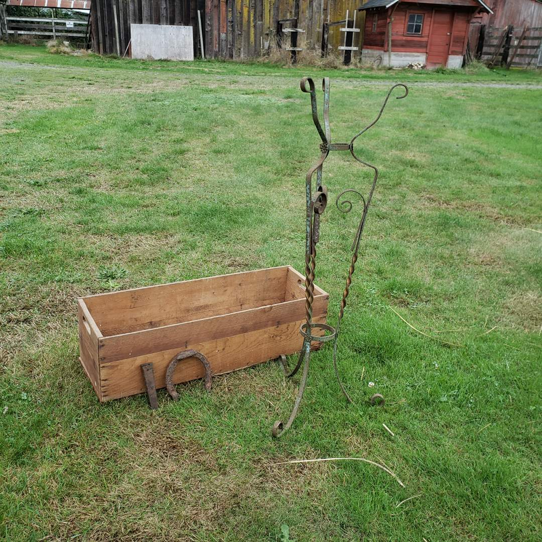 Lot#159 - Vintage Wood Crate and Metal Plant Stand * Horse Shoe * Iron Punch * Yard Art * Repurpose (main image)