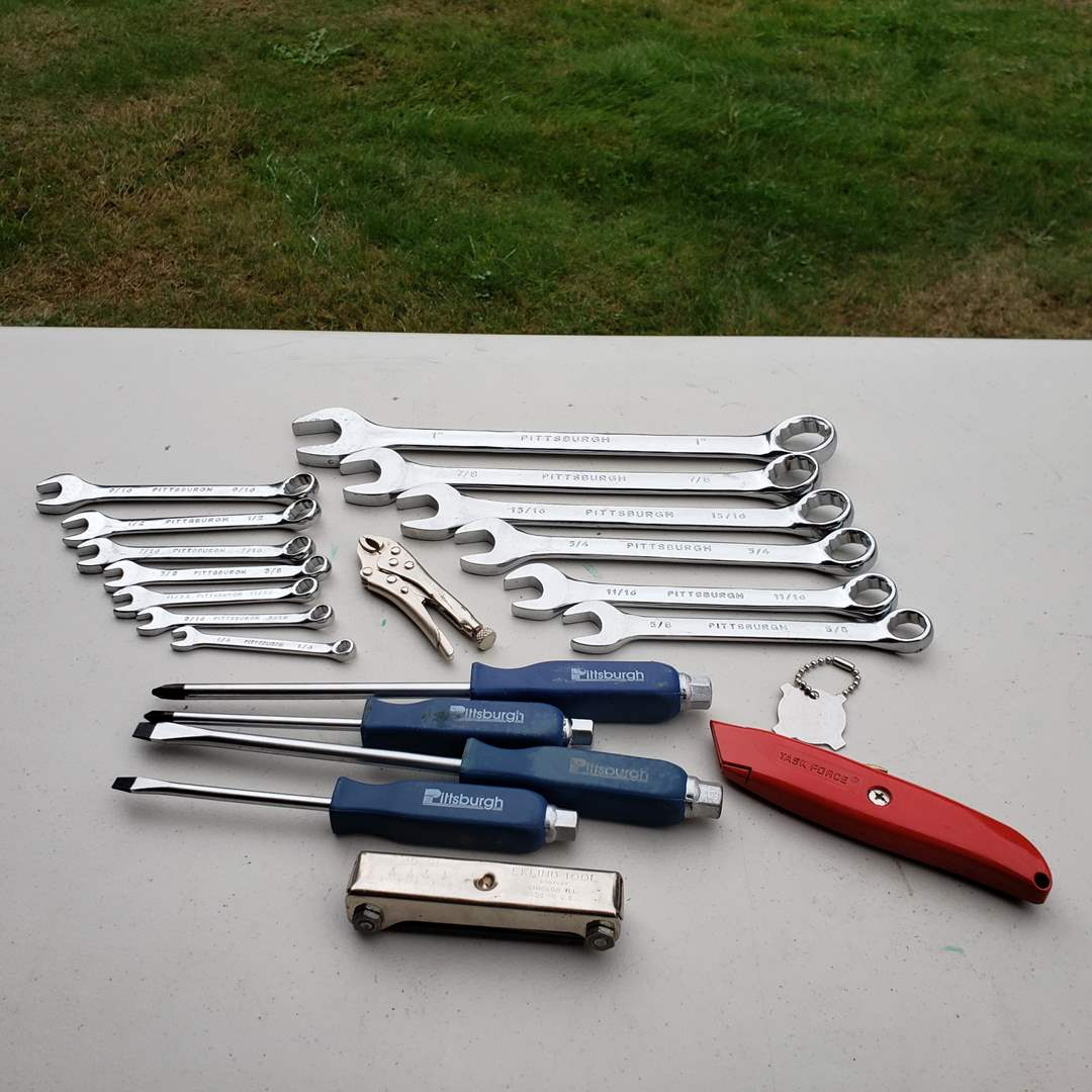 Lot#165 - Pittsburgh Standard Tools Lot * Wrenches * Vise Grip * Screwdrivers * Knife * Allen Wrench (main image)