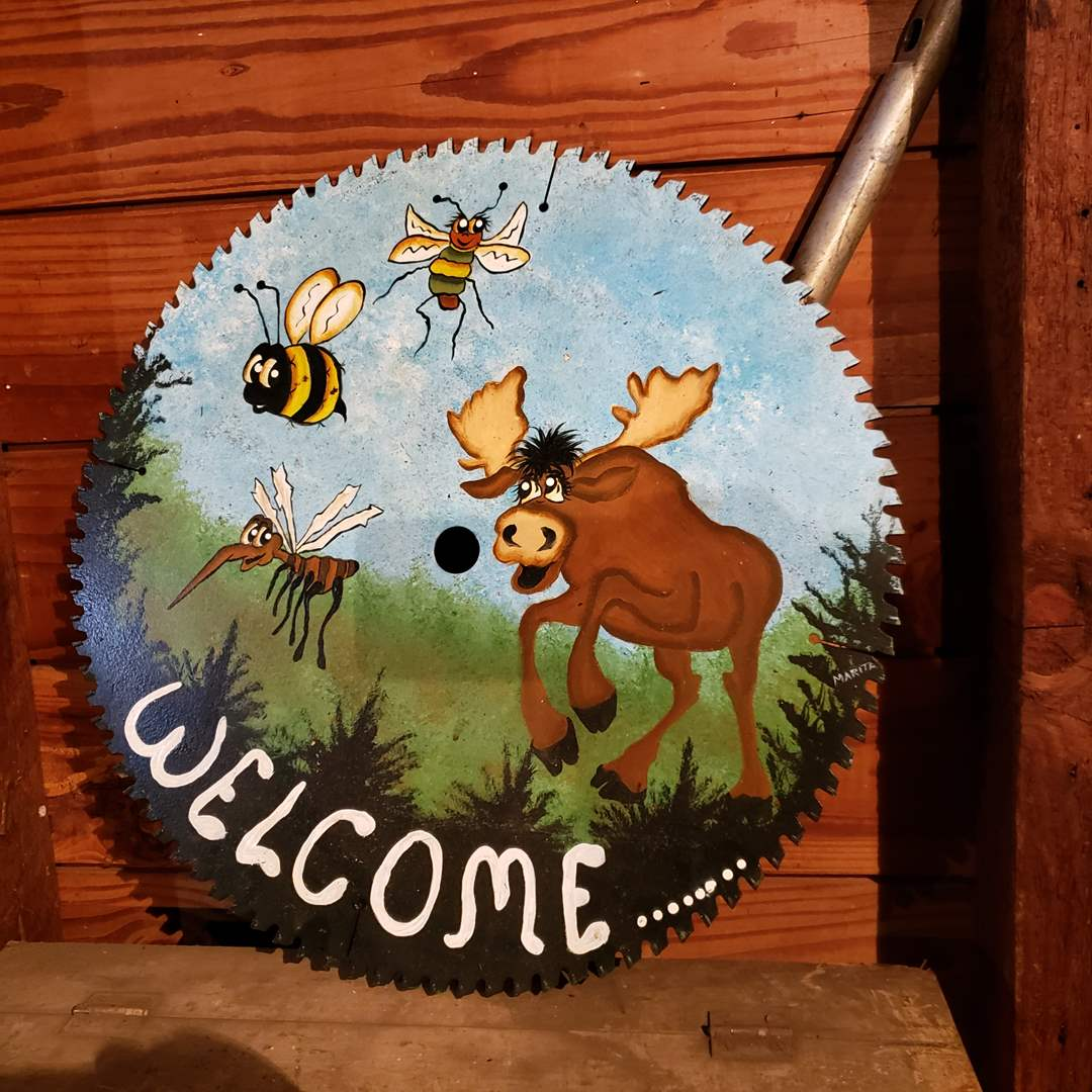 Lot#175 - Hand painted Saw Blade * Welcome * Moose * Tool * Decor (main image)