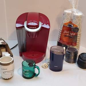Auction Thumbnail for: Lot #121 - Keurig Single Coffee Maker Model K40, Coffee Pods, Mugs, Disposal Cups